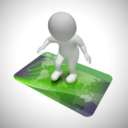 Credit card payments icon shows retail finance. Using plastic for purchases and shopping - 3d illustration Reklamní fotografie - 124892171