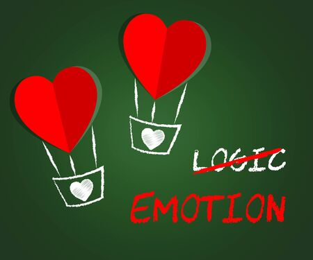 Emotion Versus Logic Hearts Illustrates The Difference Between Head And Heart. The Mind Deals With Rational Thinking, Imagination And Feelings - 3d Illustration Banco de Imagens