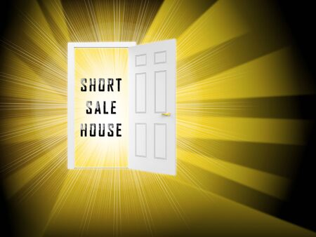 Short Sale House Or Real Estate Doorway Means Loss On Home Investment. Housing Money Losing Due To Economy Or Insolvency - 3d illustration Foto de archivo - 124892183