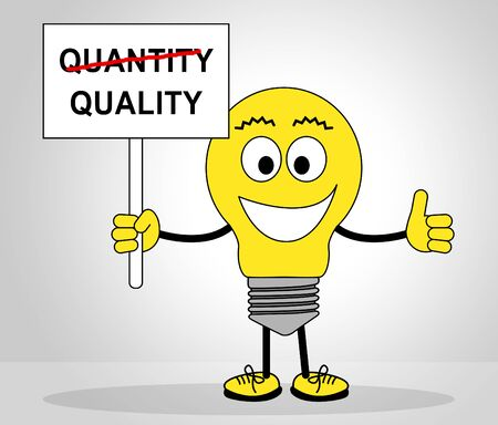 Quality Vs Quantity Sign Depicting Balance Between Product Or Service Superiority Or Production. Value Versus Volume - 3d Illustration