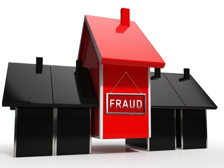 Mortgage Fraud Icon Represents Property Loan Scam Or Refinance Con. Fraudster Doing Hoax For Finance Or Equity Release - 3d Illustration Reklamní fotografie