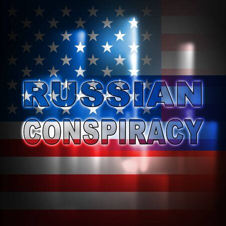 Russian Conspiracy Scheme Lights. Politicians Conspiring With Foreign Governments 3d Illustration. Complicity In Crime Against The Usa