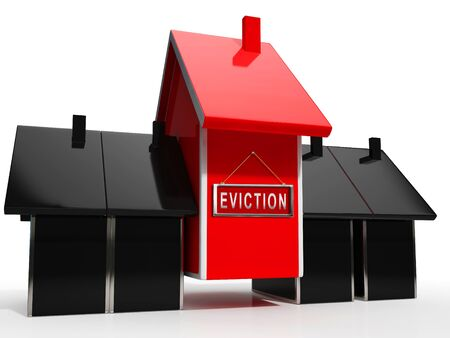 Eviction Notice Icon Illustrates Losing House Due To Bankruptcy, Debt, Nonpayment Or Landlord Enforcement - 3d Illustration Stok Fotoğraf