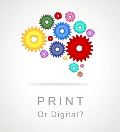 Afdrukken versus digitaal pictogram met gepubliceerde brochure versus digitale versie. Mediapublicatie tegen online advertentie - 3d illustratie