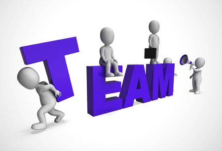 Team or teamwork concept icon means collective solidarity and collusion. Task force joining forces together - 3d illustration Foto de archivo