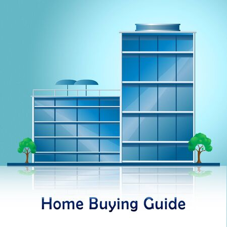 Home Buying Guide Building Depicts Evaluation Of Buying Real Estate. Purchasing Guidebook And Information - 3d Illustration