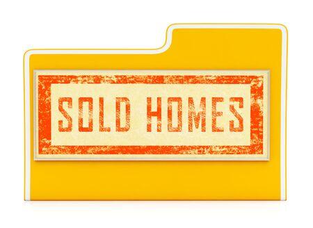 Uk House Sold Folder Illustrates Selling Property In The United Kingdom. British Real Estate Divested  - 3d Illustration