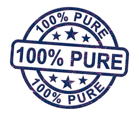 100% pure stamp means completely certified natural. One hundred percent untreated and environmentally friendly - 3d illustration Stock Photo