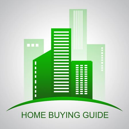 Home Buying Guide City Depicts Evaluation Of Buying Real Estate. Purchasing Guidebook And Information - 3d Illustration