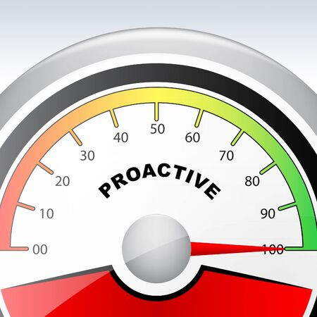 Proactive Vs Reactive Gauge Representing Taking Aggressive Initiative Or Reacting. Taking Charge Versus Late Action - 3d Illustration Stock fotó