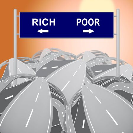Rich Vs Poor Wealth Sign Meaning Well Off Against Being Broke. Inequality And Injustice Of Life And Money - 3d Illustration Фото со стока