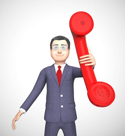 Business incoming depicts helpdesk or hotline for service. Outgoing calls show salesman selling - 3d illustration Stock Photo