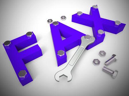 El icono del concepto de fax significa fax o transmisión por fax. Comunicar por mensaje electrónico algunos documentos - Ilustración 3d