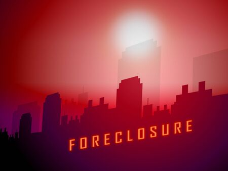 Foreclosure Notice City Means Warning That Property Will Be Repossessed. Mortgage Failure Prompts Eviction And Sale - 3d Illustration