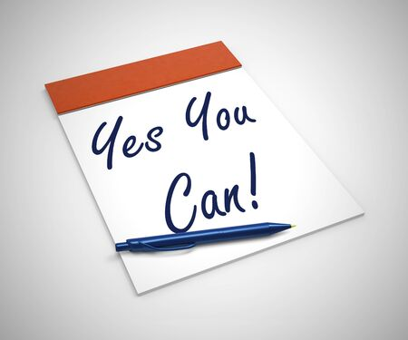 Yes you can concept icon means affirmative action and inspiration to succeed. Become a winner through motivation and encouragement - 3d illustration