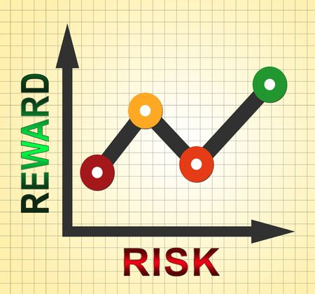 Risk Vs Reward Strategy Graph Depicts The Hazards In Obtaining Success. Taking A Chance To Get A Return On Investment - 3d Illustration 스톡 콘텐츠