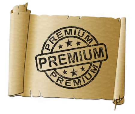 Premium stamp concept means top quality and first class. High grade choice or insurance premium - 3d illustration Stockfoto