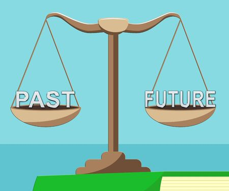 Past Vs Future Balance Compares Life Gone With Upcoming Prospects. Looking At Destiny, Fate And Opportunity - 3d Illustration