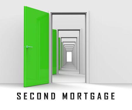 Second Mortgage Finance Doorway Showing Line Of Credit On Property. Real Estate Refinance Using Equity - 3d Illustration Standard-Bild