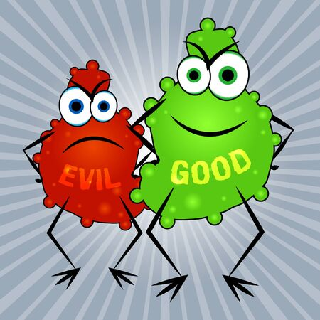 Evil Versus Good Word Means Faith In God Or The Devil. Choice Of Honest And Decent Or Hate - 3d Illustration Stock Photo