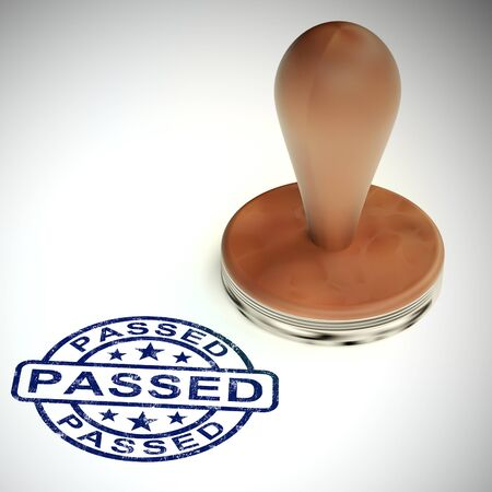 Passed stamp shows contract approved or endorsed. Paperwork authorized and validated - 3d illustration