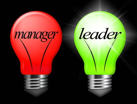 Leader Vs Manager Lights Demonstrates Managing Versus Leading. Professional Leadership And Strategy Against Just Supervising - 3d Illustration Stock Photo