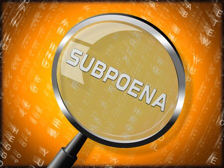 Court Subpoena Magnifier Represents Legal Duces Tecum Writ Of Summons 3d Illustration. Judicial Document To Summon A Witness Reklamní fotografie