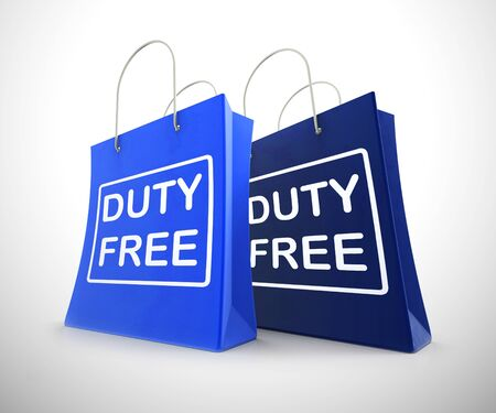 Duty-free concept icon means no customs payable. A product with no tax like airport shopping - 3d illustration Banco de Imagens
