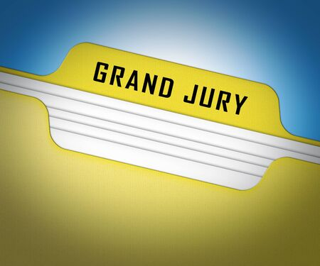 Grand Jury Court Folder Shows Government Trials To Investigate Injustice 3d Illustration. Courtroom Inquiry And Legal Litigation
