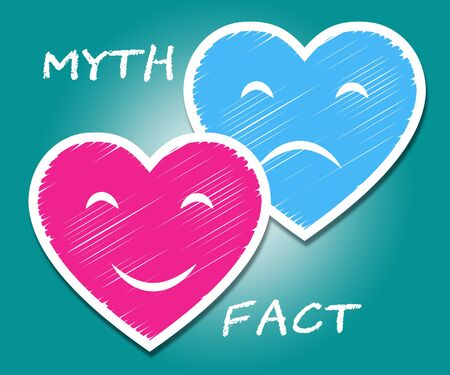 Fact Vs Myth Hearts Describes Truthful Reality Versus Deceit. Fake News Against Truth And Honest Integrity - 3d Illustration 스톡 콘텐츠 - 124927385