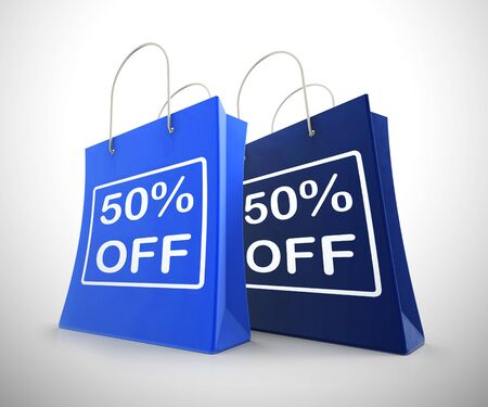 Fifty percent off discount reduction showing 50% less price. Special offer discounted half price product - 3d illustration Stock Photo