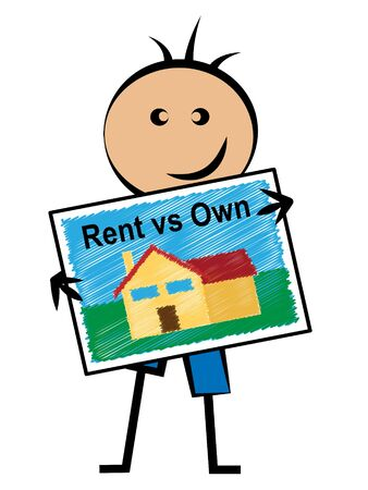 Own Versus Rent Property House Contrasts Owning Or Renting A Home. Real Estate Payment Options - 3d Illustration