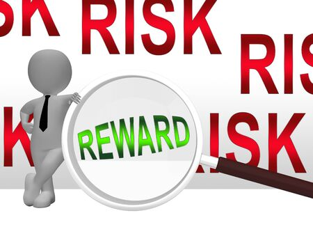 Risk Vs Reward Strategy Magnifier Depicts The Hazards In Obtaining Success. Taking A Chance To Get A Return On Investment - 3d Illustration 스톡 콘텐츠
