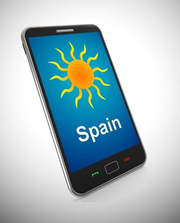Spanish sun mobile phone representing tourism and vacations in Spain. An idyllic exotic holiday by the ocean - 3d illustration