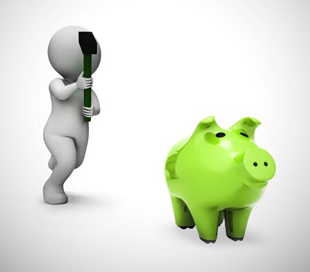 Breaking a piggy bank to access savings or cash.  Depicts financial crisis poverty and debt bankruptcy - 3d illustration Banco de Imagens