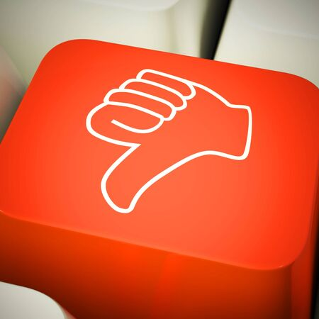 Thumbs Down button means no way or not at all. Rebuffing an idea and denial - 3d illustration Stock Photo