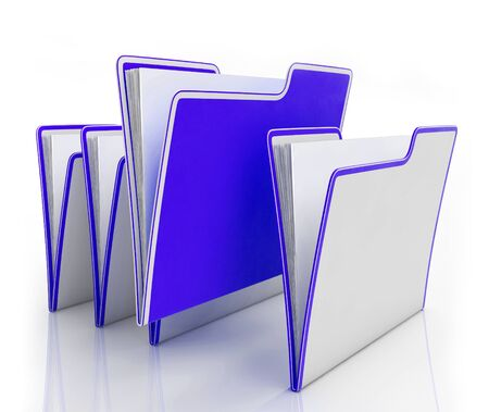 Files of folders concept icon shows data records for filing and record keeping. Information to organise and archive - 3d illustration Imagens