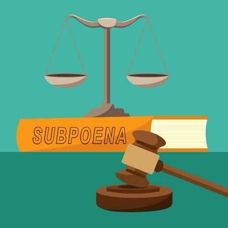 Witness Subpoena Balance Represents Legal Duces Tecum Writ Of Summons 3d Illustration. Judicial Document To Summon A Person Stock Photo