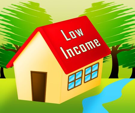 Low Income Homes And Houses Icon For Poverty Stricken Renters And Buyers. Inexpensive Budget Property In The City - 3d Illustration