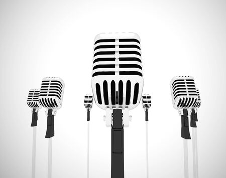 Microphone represents loudspeaker and performer like a singer. Vocalist or speech maker or a karaoke - 3d illustration