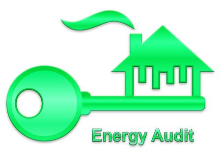 Home Energy Audit Key Represents Inspection To Save Power And Money. Building Electric Consumption And Effective Insulation - 3d Illustration Stock Photo