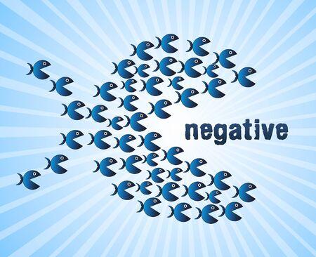 Positive Versus Negative Fish Depicting Reflective State Of Mind. Motivation And Optimism Vs Pessimism - 3d Illustration Stock Photo
