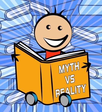 Myth Versus Reality Book Showing False Mythology Vs Real Life. Truth And Sincerity Against Fantasy - 3d Illustration