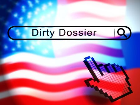 Dirty Dossier Search Containing Political Information On The American President 3d Illustration. Investigation Data From Spying On Russia Archivio Fotografico