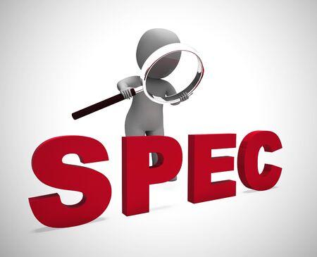 Das Spec-Konzept-Symbol bedeutet Spezifikationen oder Leistungsbeschreibung. Präzise Informationen und Klärung von Produktdetails - 3D-Darstellung Standard-Bild