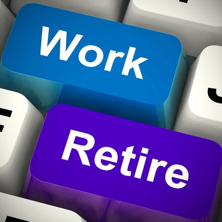 Work versus retire keys means carrying on working or getting a pension. A plan for relaxation or more drudgery - 3d illustration