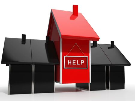 Foreclosure Help Icon Means Assistance To Stop A Property Foreclosing. House, Apartment Or Building Advice - 3d Illustration Stock Photo