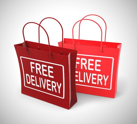 Free delivery of goods at no charge means nothing paid. Shipping price included in the selling amount - 3d illustration Stok Fotoğraf