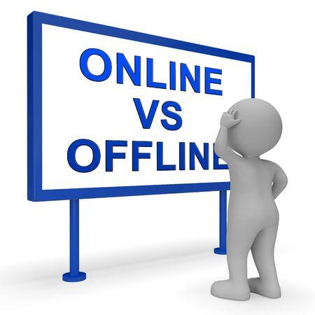 Online Vs Offline Sign Depicting Internet Surfing Versus Print Media Promotion. Social Media And Website Advertising Or Printed - 3d Illustration 스톡 콘텐츠