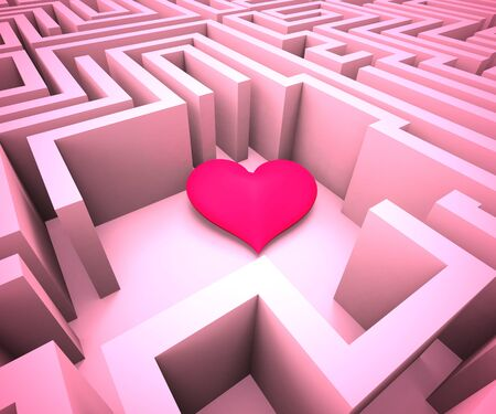 Heart in a maze shows looking for love and romance. The difficult path to a Valentine - 3d illustration Stock Photo